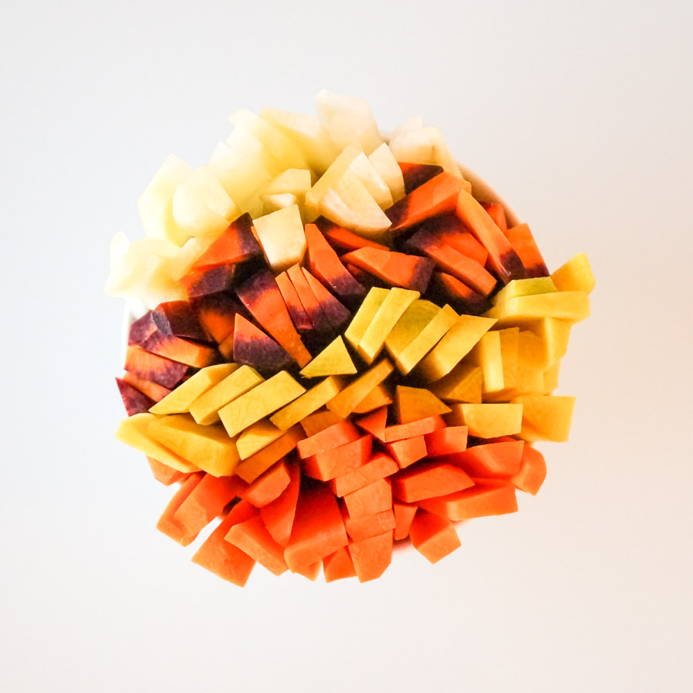 Bâtonnets de carotte multicolores